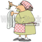 Woman Hanging Clothes On A Line To Dry In The Sunshine Clipart Illustration © djart #14604