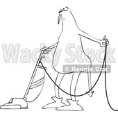 Clipart of a Cartoon Black and White Chubby Devil Vacuuming - Royalty Free Vector Illustration © djart #1460990