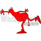 Clipart of a Chubby Red Devil Balancing on One Foot - Royalty Free Vector Illustration © djart #1460997
