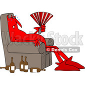 Clipart of a Cartoon Hot Chubby Red Devil Sitting in a Chair with a Fan and Bottles on the Floor - Royalty Free Vector Illustration © djart #1461325