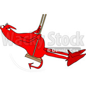 Clipart of a Cartoon Chubby Red Devil Swinging - Royalty Free Vector Illustration © djart #1461327