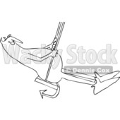 Clipart of a Cartoon Black and White Chubby Devil Swinging - Royalty Free Vector Illustration © djart #1461328
