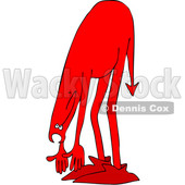 Clipart of a Chubby Red Devil Bending over and Touching His Toes - Royalty Free Vector Illustration © djart #1461659