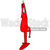 Clipart of a Chubby Red Devil Hanging from a Rope - Royalty Free Vector Illustration © djart #1462272