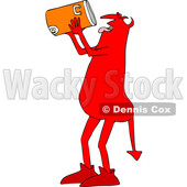 Clipart of a Thirsty Chubby Red Devil Drinking from a Water Cooler - Royalty Free Vector Illustration © djart #1462465