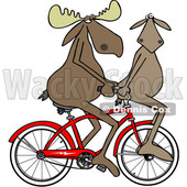 Clipart of a Moose Couple Riding a Bicycle, One on the Handlebars - Royalty Free Illustration © djart #1462832