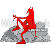 Clipart of a Cartoon Crossfaded Devil Smoking a Joint and Holding a Bottle of Alcohol While Sitting on a Boulder - Royalty Free Vector Illustration © djart #1465853