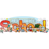 Clipart of a Crossing Guard, Teachers and Students in Front of School Text and a Bus - Royalty Free Illustration © djart #1468114