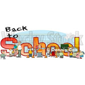 Clipart of a Crossing Guard, Teachers and Students in Front of Back to School Text and a Bus - Royalty Free Illustration © djart #1468115