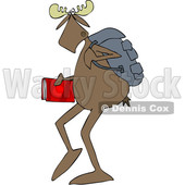 Clipart of a School Moose Walking Upright - Royalty Free Vector Illustration © djart #1468181