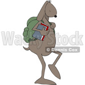 Clipart of a Dog School Student Walking Upright - Royalty Free Vector Illustration © djart #1468346