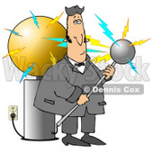 Nicola Tesla Surrounded By Electrical Shocks While Experimenting With The Tesla Coil Clipart Illustration Graphic © Dennis Cox #14708
