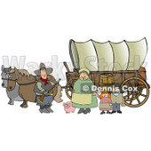 Historical Family Of Pioneers Standing With Their Pig In Front Of Two Horses Pulling A Covered Wagon Along The Oregon Trail Clipart Illustration Graphic © djart #14709