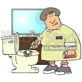 Disgusted Woman Holding A Can Of Cleanser While Scrubbing A Dirty Toilet In A Restroom Clipart Illustration Graphic © Dennis Cox #14712