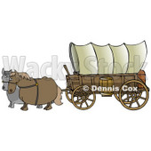 Two Horses Pulling A Big Covered Wagon On The Oregon Trail Clipart Illustration © Dennis Cox #14714
