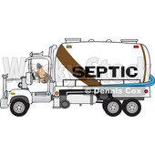 Clipart of a Worker Backing up a Septic Pumper Truck - Royalty Free Vector Illustration © djart #1476504