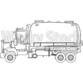 Clipart of a Black and White Man Backing up a Septic Pumper Truck - Royalty Free Vector Illustration © djart #1476507