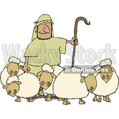 Clipart of a Shepherd Guarding His Sheep - Royalty Free Vector Illustration © djart #1476677