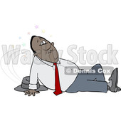 Clipart of a Black Business Man Slipping - Royalty Free Vector Illustration © djart #1478188