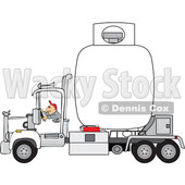 Clipart of a Trucker Hauling a Propane Tanker - Royalty Free Vector Illustration © djart #1479766