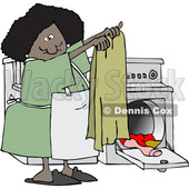 Clipart of a Cartoon Happy Black Woman Doing Laundry - Royalty Free Vector Illustration © djart #1482344