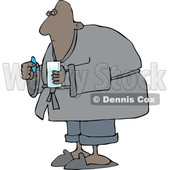 Clipart of a Cartoon Sick Black Man Taking a Pill - Royalty Free Vector Illustration © djart #1511702