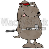 Humanlike Dog Standing On His Hind Legs, Holding A Club And Wearing A Red Visor And Shielding His Eyes To Watch His Ball After Just Hitting It At A Golf Course Graphic Clipart © Dennis Cox #15130