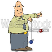 Focused Businessman In A Green Shirt, Blue Tie And Blue Pants, Trying To Use Two Yo-Yos At The Same Time Clipart Graphic © Dennis Cox #15131