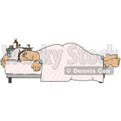 Ill Man Lying On A Hospital Bed Near A Table Of Medicine Clipart Graphic © Dennis Cox #15133