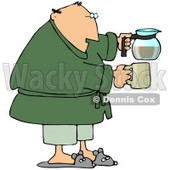 Tired Man Just Waking Up In The Morning, Wearing Slippers, Pajamas And A Green Robe, Holding A Coffee Pot And A Mug Clipart Graphic © Dennis Cox #15134