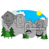 Evergreen Trees In Front Of George Washington, Thomas Jefferson, Theodore Roosevelt, And Abraham Lincoln Sculptures On Mount Rushmore On A Sunny Day, South Dakota Clipart Graphic © djart #15135