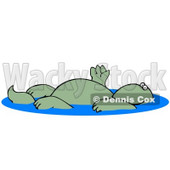 Relaxed Green Dinosaur Floating On His Back In A Swimming Pool And Waving Graphic Clipart © Dennis Cox #15136