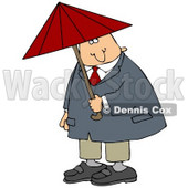 Caucasian Businessman In A Red Tie, Blue Jacket And Tan Pants, Holding A Red Umbrella And Looking Both Ways Before Crossing A Street Clipart Graphic © Dennis Cox #15137