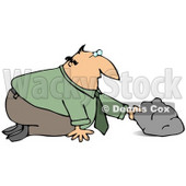 Businessman In A Green Shirt And Tie, Kneeling To Look And See What He Can Discover Under A Rock Clipart Graphic © djart #15138