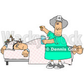Ill Man Lying On A Hospital Bed Near A Table Of Medicine While A Friendly Nurse Hands Him A Pill And A Glass Of Water For Treatment Clipart Graphic © Dennis Cox #15140
