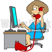 Clipart of a Cartoon White Female Secretary Taking a Phone Call - Royalty Free Vector Illustration © djart #1514032