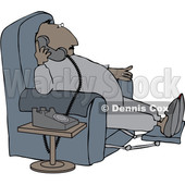 Clipart of a Cartoon Chubby Black Man in Pajamas, Sitting in a Chair and Talking on the Phone - Royalty Free Vector Illustration © djart #1514033