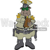 Clipart of a Cartoon Black Male Police Officer Issuing a Ticket - Royalty Free Vector Illustration © djart #1514038