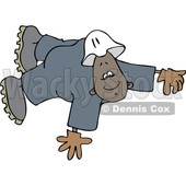 Clipart of a Cartoon Black Male Worker Floating or Flying - Royalty Free Vector Illustration © djart #1514499