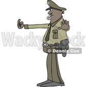 Clipart of a Cartoon Police Man Directing Traffic - Royalty Free Vector Illustration © djart #1514847