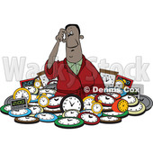 Clipart of a Confused Black Man in a Pile of Clocks - Royalty Free Vector Illustration © djart #1514889