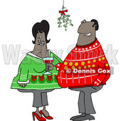 Clipart of a Cartoon Black Couple Under Mistletoe at a Christmas Party - Royalty Free Vector Illustration © djart #1515107