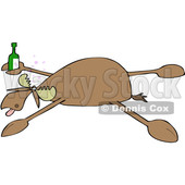 Clipart of a Cartoon Drunk Moose Spread Eagle - Royalty Free Vector Illustration © djart #1516049