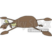 Clipart of a Cartoon Moose Spread Eagle - Royalty Free Vector Illustration © djart #1516051
