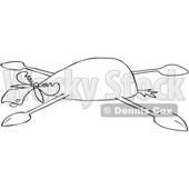 Clipart of a Cartoon Black and White Moose Spread Eagle - Royalty Free Vector Illustration © djart #1516052