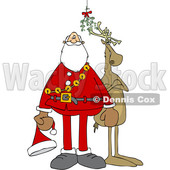 Clipart of a Cartoon Christmas Santa Claus and Reindeer Under the Mistletoe - Royalty Free Vector Illustration © djart #1516055