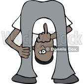 Clipart of a Cartoon Black Man Bending Over, Looking Between His Legs and Flipping the Bird Middle Finger - Royalty Free Vector Illustration © djart #1516058