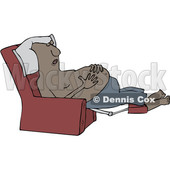 Clipart of a Cartoon Shirtless Black Man Sleeping in a Recliner Chair, Resting His Hands on His Belly - Royalty Free Vector Illustration © djart #1516060