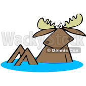 Clipart of a Moose in Water - Royalty Free Vector Illustration © djart #1517093