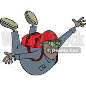 Clipart of a Cartoon Black Man Free Falling While Skydiving - Royalty Free Vector Illustration © djart #1517197